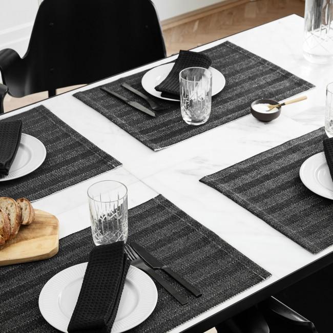 Herringbone placemats and Black Label napkins