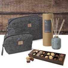 Georg Jensen Toilet Bags & Refreshing Rain Fragrance Sticks & Chocolate