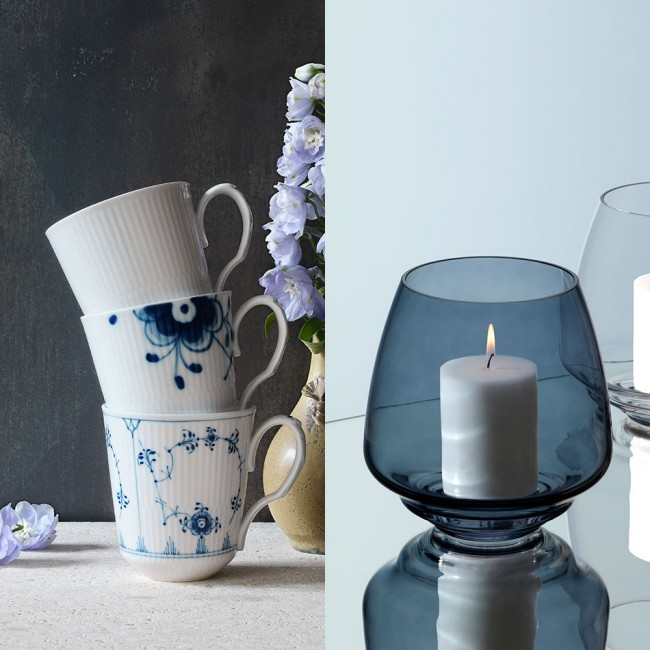 Royal Copenhagen History mix 3-pcs mugs & Holmegaard flow candleholder