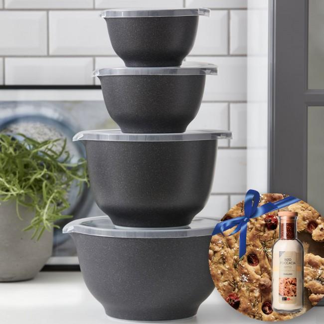 Rosti Margrethe Bowl Set With Lids & Malund Foccacia Bread Mix
