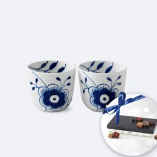 Royal Copenhagen Blue Fluted Mega Rifle Tealight Holders & Chocolate
