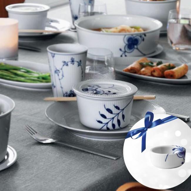 Royal Copenhagen Blue mega fluted ovenproof dish with lid & salt/butter tub