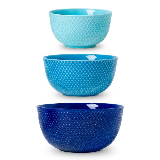 Lyngby Porcelæn Rhombe Color serveringsskåle, stor, 3 stk
