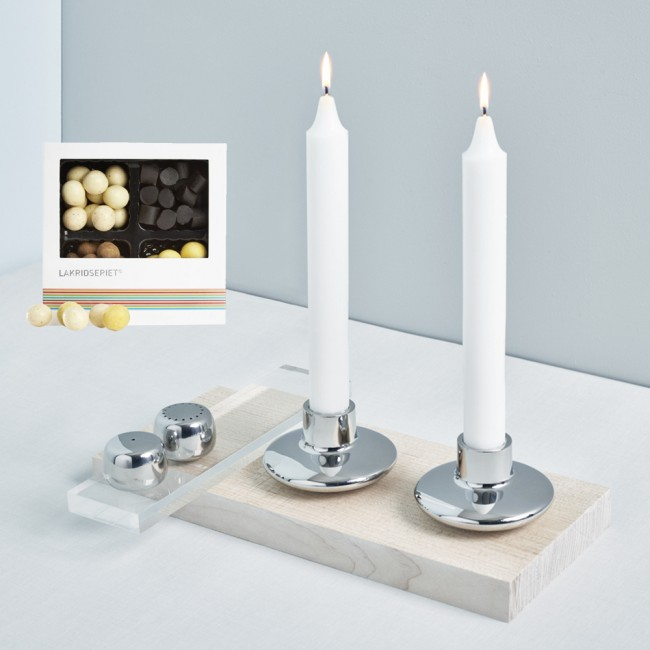 Georg Jensen Candleholders with Pebbles and Liquorice