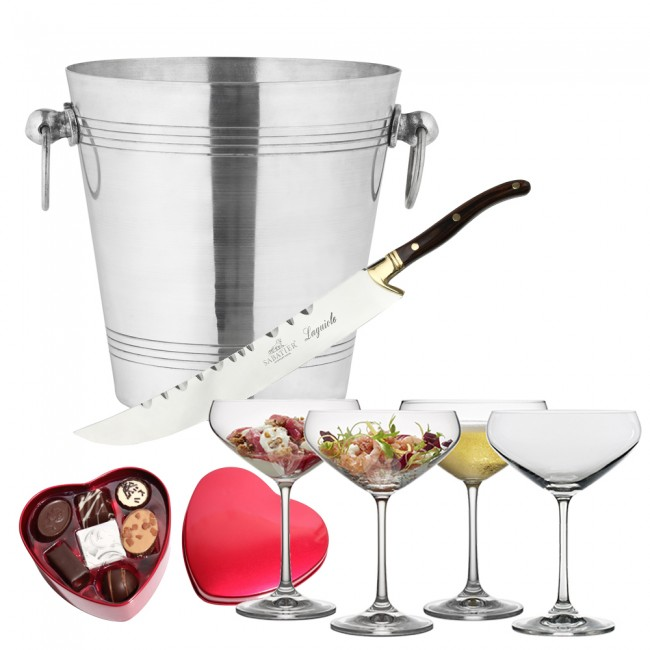 Champagne sword, wine cooler, champagneglasses & chocolate