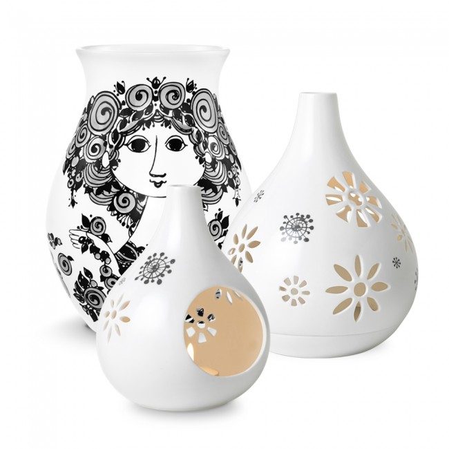 Lyslygte, fyrfadsstage og vase af Bjørn Wiinblad