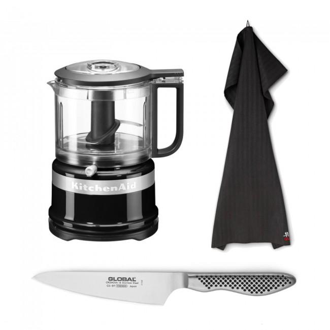 Kitchen aid Mini Food Processor, Kokkekniv og viskestykke