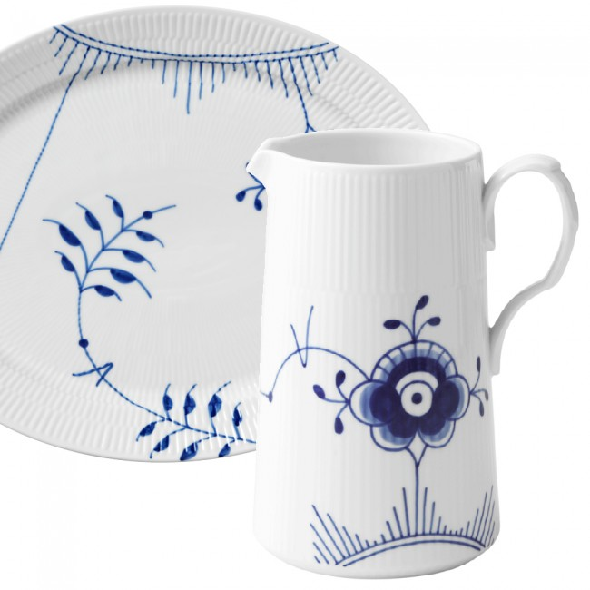 Blue fluted dish and pitcher